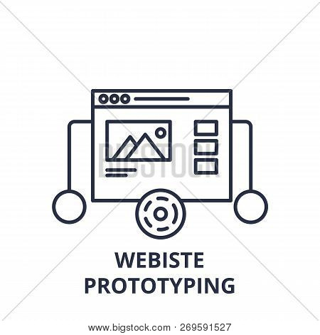 Website Prototyping Line Icon Concept. Website Prototyping Vector Linear Illustration, Symbol, Sign
