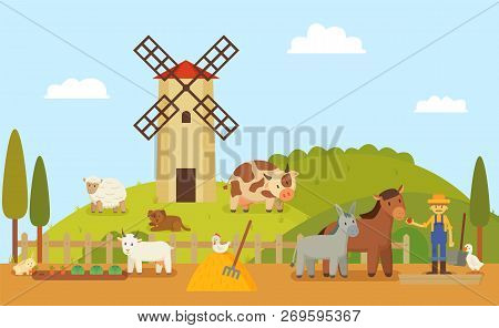 Rural Farm Or Authentic Ranch With Windmill And Grassland. Animals Horse And Sheep, Goose And Donkey