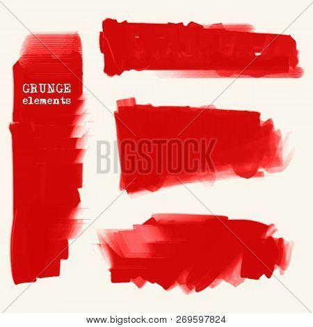 Vector Set Red Brush Vector & Photo (Free Trial) | Bigstock