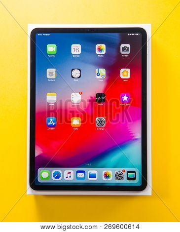 Paris, France - Nov 14, 2018: Man Hand Holding Unboxing Unpacking Of New Ipad Pro By Apple Computers