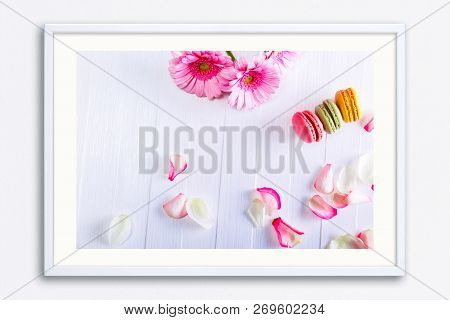 Macaroon Cakes With Pink Rose Petals And Gerbera Flowers. Different Types Of Macaron. Colorful Almon