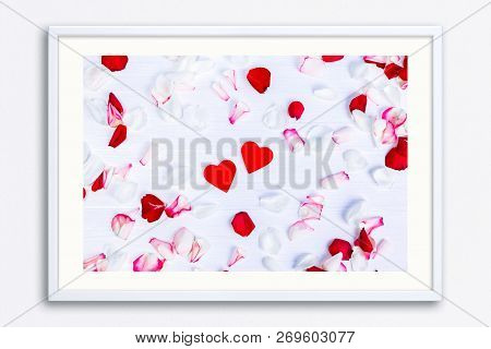 Petals Of Roses On White Painted Rustic Background. Fresh Natural Flowers. Romantic Design With Red