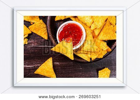 Nachos Chips. Delicious Salty Tortilla With Sweet Salsa Or Chilli Sauce. Snack On Rustic Plate. Sack