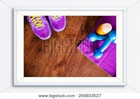 Fitness Gym Equipment. Sneakers, Dumbbells With Towel. Orange Juice Drink. Workout Footwear. Sport T