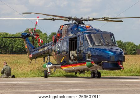 Volkel, The Netherlands - Jun 15, 2013: Special Painted German Navy Westland Sea Lynx Helicopter On