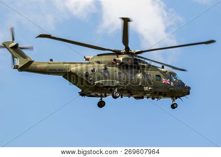 Gilze-rijen, Netherlands - May 30, 2018: British Royal Navy Aw101 Merlin Helicopter Arriving At Gilz