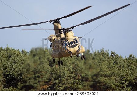 Eindhoven, The Netherlands - Jun 22, 2018: United States Army Boeing Ch-47f Chinook Transport Helico