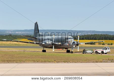Nancy, France - Jul 1, 2018: French Navy Breguet Atlantic Atl-2 Maritime Patrol Aircraft On The Tarm
