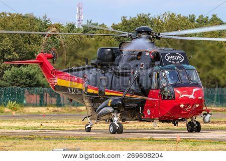 Kleine Brogel, Belgium - Sep 8, 2018: Belgian Air Force Sikorsky Sh-3 Sea King Search And Rescue Hel