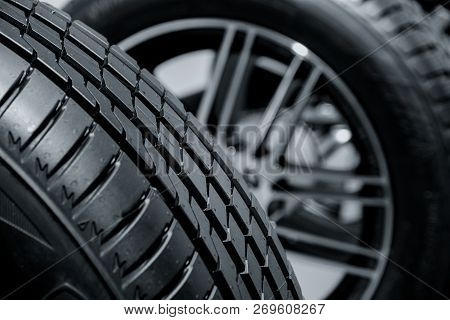 Black And White Close Up Modern Tyre Profile Car Tires