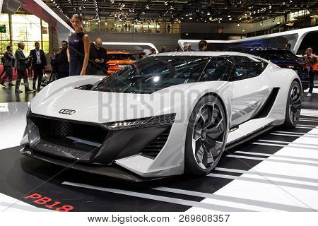 Paris - Oct 2, 2018: Audi Pb18 E-tron Concept Super Sports Car Unveiled At The Paris Motor Show.