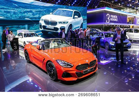 Paris - Oct 3, 2018: Bmw Z4 Sports Car Showcased At The Paris Motor Show.