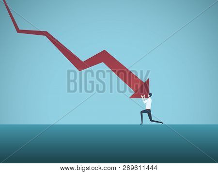 Bankrupt Businessman Pushed By Downward Arrow Vector Concept. Symbol Of Bankruptcy, Failure, Recessi