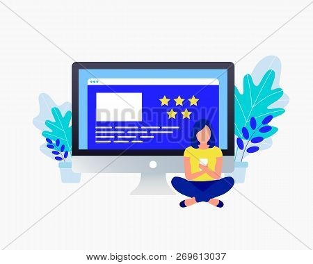 Star Rating Feedback Concept. Positive Review. Young Girl Stay Her Feedback. Trendy Flat Design. Vec