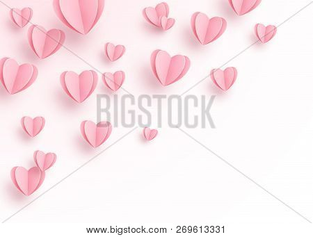 Heart Background With Light Pink Paper Cut Hearts. Love Pattern For Motion Graphic Design, Valentine