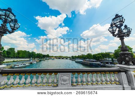 Lampposts In Alexander Iii Bridge In Paris, France