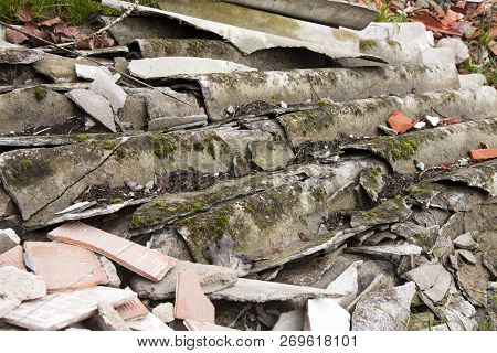 Illegal Asbestos Dumping Roofing Asbestos Panels Illegally Abandoned In Nature