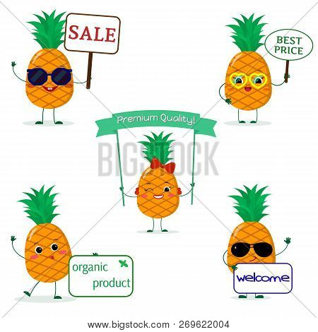 A Set Of Five Pineapples Smile In Cartoon Style. With Different Plates And Glasses. Flat, Vector.