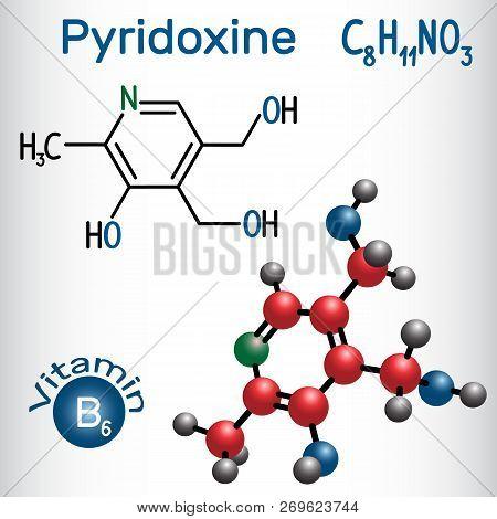 Pyridoxine Molecule, Is A Vitamin B3. Structural Chemical Formula And Molecule Model. Vector Illustr