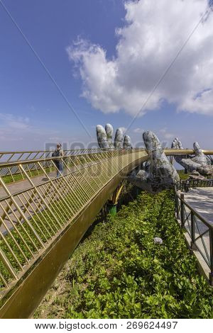 Da Nang, Vietnam - October 31, 2018: Golden Bridge Known As