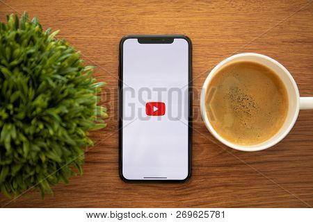 Alushta, Russia - October 13, 2018: Iphone X With Multinational Entertainment Company Google Provide