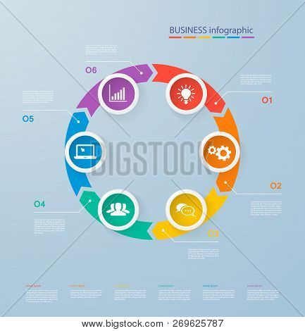 Infographics Template With Realistic Colorful Circles For 6 Steps And Icons. Can Be Used For Workflo