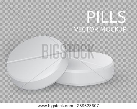 Two Round Pills Close-up Lying On Top Of Each Other