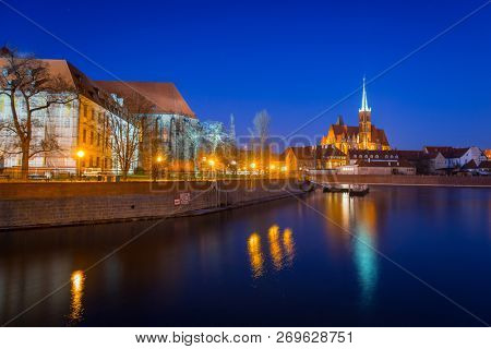 Wroclaw, Poland - December 28, 2016: Architecture of the old town in Wroclaw at night, Poland.  Wroclaw is the largest city in western Poland and historical capital of Silesia.