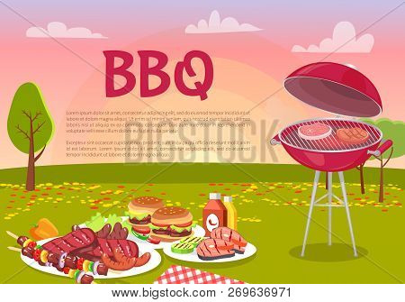 Bbq Beef Roasting Meat Poster. Grille Beefsteaks Cooking In Park. Picnic With Served Plates, Hamburg