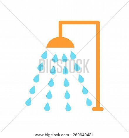 Shower Emblem Isolated Vector Icon In Cartoon Style. Douche With Drops Of Water Floating In Several