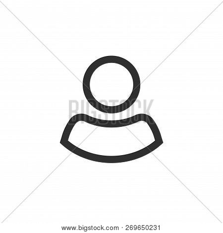 User Icon Vector, Line Outline Person Symbol Isolated On White, Profile Silhouette Pictogram Or Avat