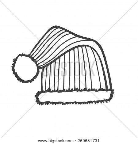 Winter Knitted Hat With Pompon, Sketch Style Vector Illustrations Isolated On White Background. Hand