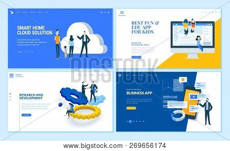 Set Of Flat Design Web Page Templates Of Business Apps, Research And Development, Home Cloud Solutio