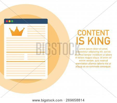 Content Marketing - Content Is King - Digital Content - Advertising Flat Vector Banner Isolated On W