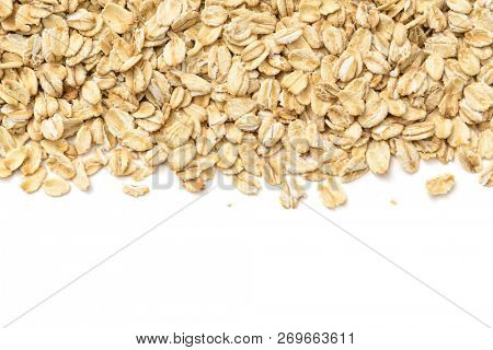 Healthy food concept -Oat flakes on white background