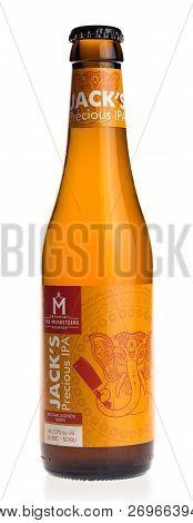 Groningen, Netherlands - November 17, 2018: Belgian Indian Pale Ale Beer Jacks Precious Ipa Isolated