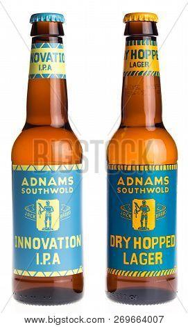 Groningen, Netherlands - November 17, 2018: Bottle Of English Adnams Dry Hopped Lager And Innovation