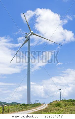 Inoperable And Damaged Wind Turbines At Punta Lima Wind Farm After Hurricane Maria In Naguabo Puerto