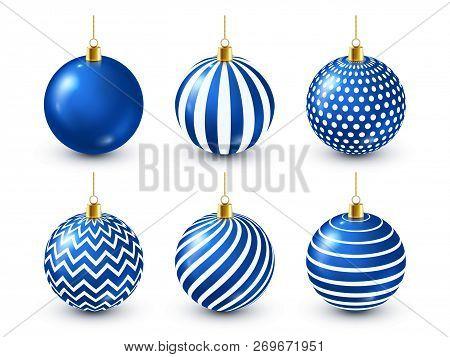 Christmas Tree Shiny Blue Balls Set. New Year Decoration. Winter Season. December Holidays. Greeting