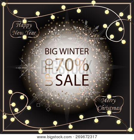 Sale Banner Template Design. Sale Poster Of Christmas. Big Winter Sale Discount. Graphic Poster, Geo