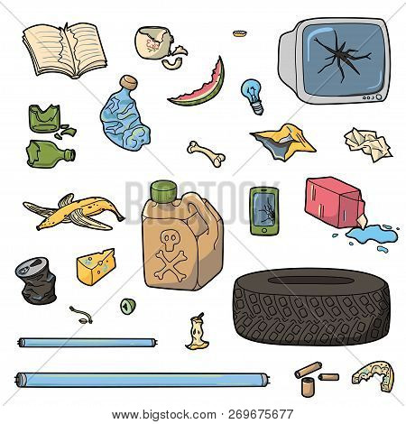 Set Of Different Waste. Organic, Electronic, Plastic, Metal, Paper Spoiled And Broken Items.