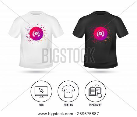 T-shirt Mock Up Template. First Place Award Sign Icon. Prize For Winner Symbol. Laurel Wreath. Reali