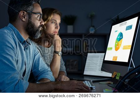 Serious business man and businesswoman working on graphs for plan on computer. Multiethnic businessman reading presentation at office desk. Businesspeople reviewing final presentation at night.