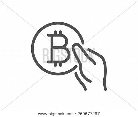 Bitcoin Pay Line Icon. Cryptocurrency Coin Sign. Crypto Money Symbol. Quality Design Flat App Elemen