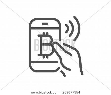 Bitcoin Mobile Pay Line Icon. Cryptocurrency Sign. Crypto Money Symbol. Quality Design Flat App Elem