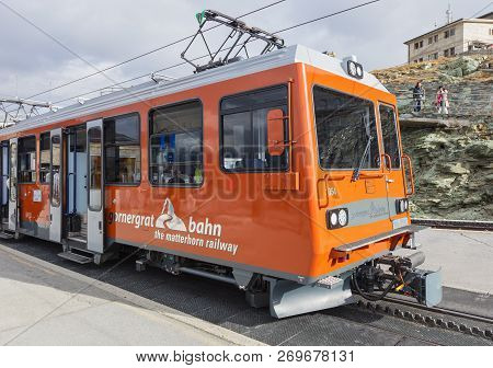 Mt. Gornegrat, Switzerland - September 16, 2018: A Gornergrat Railway Train Standing At The Gornergr