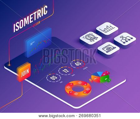 Isometric Vector. Set Of Growth Chart, Reward And Restructuring Icons. Online Delivery Sign. Upper A