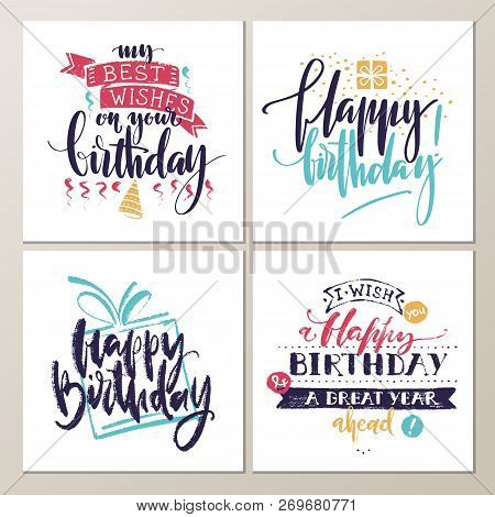 Birthday Cards. Various Words About Birthday On White Background. Holiday Design For Cards, Invitati