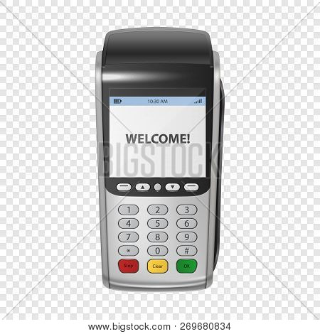 Vector Realistic Silver 3d Payment Machine. Pos Terminal Closeup Isolated On Transparency Grid Backg