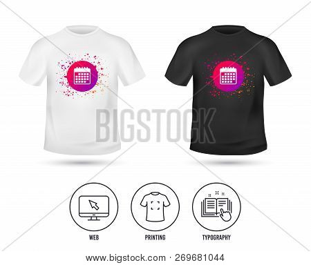 T-shirt Mock Up Template. Calendar Icon. Event Reminder Symbol. Realistic Shirt Mockup Design. Print